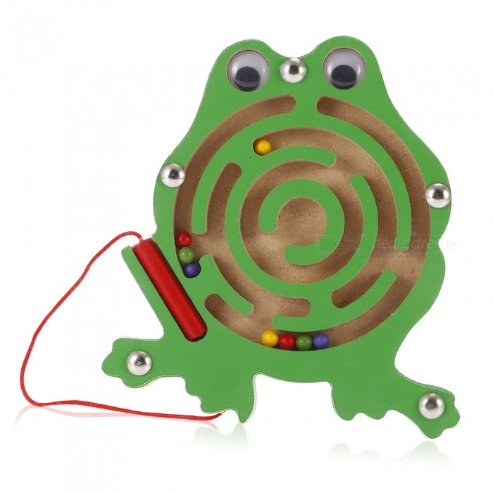 Wooden Cartoon Frog Style Magnetic Pen Mazes Labyrinth Toy for Kids