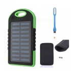 """5000mAh"" Waterproof Solar Power Bank + LED Light - Green + Black"