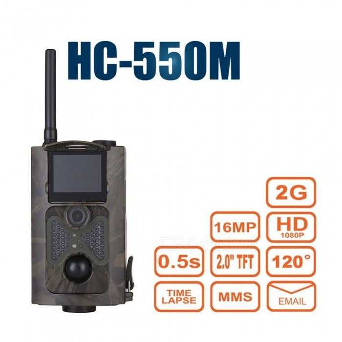 HC-550M 12MP 1/2.5 CMOS Hunting Camera w/ 48-IR LED Night VisionSport Cameras<br>Form  ColorACUModelHC-550MShade Of ColorMulti-colorMaterialABSQuantity1 DX.PCM.Model.AttributeModel.UnitImage SensorCMOSImage Sensor Size1/2.5 inchesAnti-ShakeYesFocal DistanceN/A DX.PCM.Model.AttributeModel.UnitFocusing Range1-20Optical ZoomNoDigital ZoomOthers,noBuilt-in SpeedliteYesSpeedlite Range30Aperture60Aperture Range1-60Wide Angle60Effective Pixels1200Max. Pixels12 DX.PCM.Model.AttributeModel.UnitImagesJPGStill Image Resolution16MP=5360 * 3200<br>12MP = 4032 x 3024 8MP = 3264 x 2448 5MP = 2560 x 1920VideoAVIVideo Resolution1080P (15fps) 720P (25fps) VGA (30fps)Video Frame Rate15,25,30Audio SystemMonophonyCycle RecordYesISO400Exposure Compensation-2;-1.7;-1.3;-1;-0.7;-0.3;0;+0.3;+0.7;+1;+1.3;+1.7;+2.0White Balance ModeAutoSupports Card TypeTFSupports Max. Capacity32 DX.PCM.Model.AttributeModel.UnitBuilt-in Memory / RAM512MBInput InterfaceOthersOutput InterfaceAV,Micro USB,Micro HDMILCD ScreenYesScreen TypeTFTScreen Size2.0 DX.PCM.Model.AttributeModel.UnitBattery Measured Capacity 0 DX.PCM.Model.AttributeModel.UnitNominal Capacity0 DX.PCM.Model.AttributeModel.UnitBattery TypeAABattery included or notNoBattery Quantity8 DX.PCM.Model.AttributeModel.UnitVoltage6 DX.PCM.Model.AttributeModel.UnitLow Battery AlertsYesWater ResistantWater Resistant 3 ATM or 30 m. Suitable for everyday use. Splash/rain resistant. Not suitable for showering, bathing, swimming, snorkelling, water related work and fishing.Supported LanguagesEnglish,Russian,Portuguese,Spanish,French,GermanOther FeaturesF/No=3.0 FOV (field of view): 60 degreesPacking List1 * Camera1 * Antenna1 * Binding belt (100cm)1 * AV cable (115cm)1 * USB cable (40cm)1 * Remote controller1 * English user manual<br>