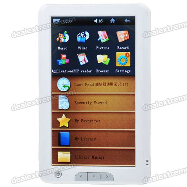 "R9 7.0"" Touch Screen E-Book Reader HD Media Player w/ Voice Recorder/TF/HDMI - White (4GB)"