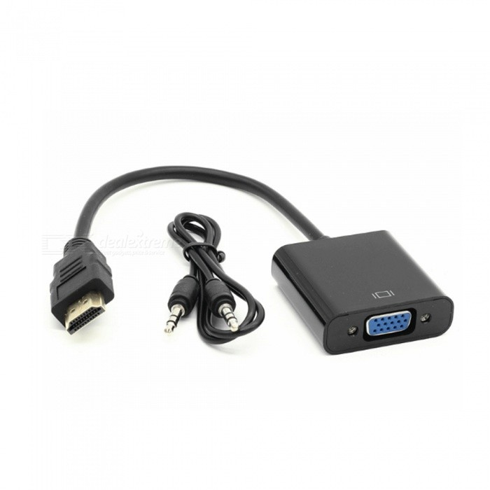 Dayspirit HDMI Male till VGA 1080P Adapter w / 3.5mm ljudkabel - Svart