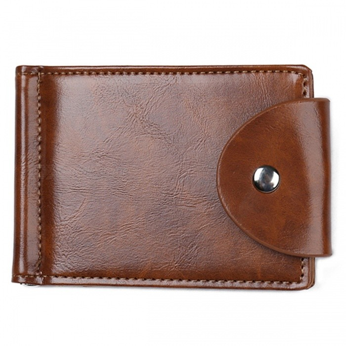 JIN BAO LAI Folded Leather Wallet with Coin Pocket for Men - Coffee