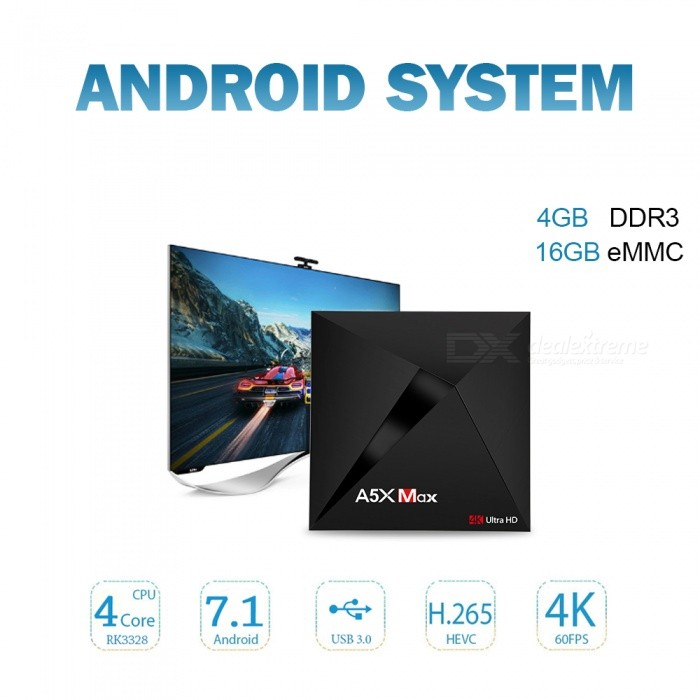 A5X MAX Android 7.1 TV Box Rockchip RK3328 Smart Set Top Box (UK Plug)Smart TV Players<br>Form  ColorBlackBuilt-in Memory / RAM4GBStorage16GBPower AdapterUK PlugQuantity1 DX.PCM.Model.AttributeModel.UnitMaterialASShade Of ColorBlackOperating SystemOthers,Android 7.1ChipsetRK3328CPUOthers,Cortex-A53Processor Frequency750Mhz+GPUPenta-Core Mali-450 Up to 750Mhz+Menu LanguageEnglishMax Extended Capacity32GBSupports Card TypeMicroSD (TF)Wi-Fi2.4GBluetooth VersionBluetooth V4.03G FunctionYesWireless Keyboard/Mouse2.4GAudio FormatsOthers,MP3 / WMA / AAC / WAV / OGG / DDP / HD / FLAC / APEVideo FormatsOthers,Avi / Ts / Vob / Mkv / Mov / ISO / wmv / asf / flv / dat / mpg / mpegAudio CodecsDTS,AC3,FLAC,OthersVideo CodecsH.264,Others,H.265,VC-1MPEG-1/2/4VP6 / 8Picture FormatsOthers,HD JPEG / BMP / GIF / PNG / TIFFSubtitle FormatsOthers,SRT / SMI / SUB / SSA / IDX + USBOutput Resolution1080PHDMIHDMI 2.0a for 4k@60HzPower SupplyDC 5V/2APacking List1 X A5X MAX Android TV Box1 X Power Adapter1 X Remote Controller1 X HDMI cable1 X English User Manual<br>