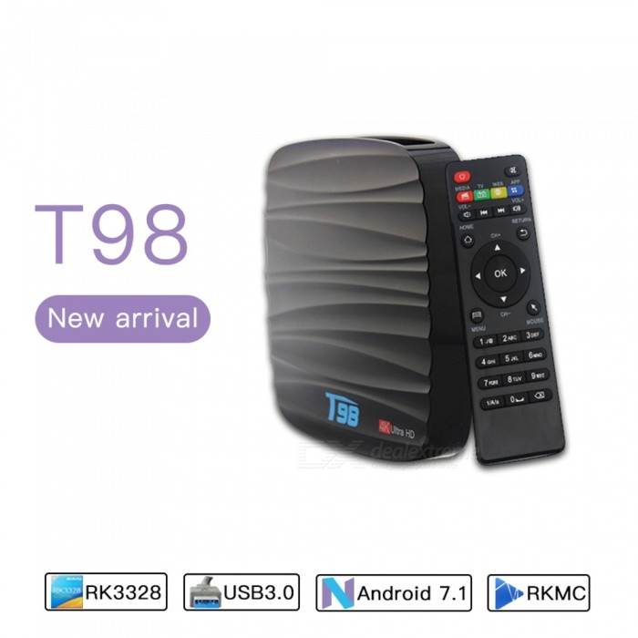T98 TV Box Android 7.1  OS Quad Core 8GB 4K Media Player - EU PlugSmart TV Players<br>Form  ColorBlackBuilt-in Memory / RAM2GBStorage8GBPower AdapterEU PlugQuantity1 setMaterialABSShade Of ColorBlackOperating SystemOthers,Android 7.1ChipsetCPU RK3328CPUOthers,Cortex-A53Processor Frequency1.5 GHzMenu LanguageEnglishMax Extended Capacity32GBSupports Card TypeMicroSD (TF)Wi-FiWi-Fi 802.11 b/g/nBluetooth VersionBluetooth V4.03G FunctionYesWireless Keyboard/Mouse2.4GAudio FormatsOthers,MP3 / WMA / AAC / WAV / OGG / DDP / HD / FLAC / APEVideo FormatsOthers,Avi / Ts / Vob / Mkv / Mov / ISO / wmv / asf / flv / dat / mpg / mpegAudio CodecsDTS,AC3,FLACVideo CodecsH.264,Others,H.265,VC-1MPEG-1/2/4VP6 / 8Picture FormatsOthers,HD JPEG / BMP / GIF / PNG / TIFFSubtitle FormatsOthers,SRT / SMI / SUB / SSA / IDX + USBOutput Resolution1080PHDMIHDMI 2.0 a(C Type Male) for 4k@60HzPower SupplyDC 5V/2.0APacking List1 x T98 Android 7.1 EXW Pro TV Box 1 x Power Adapter(5V 2A ) 1 x Remote Controller (Battery is not included) 1 x HDMI Cable 1 x User Manual<br>