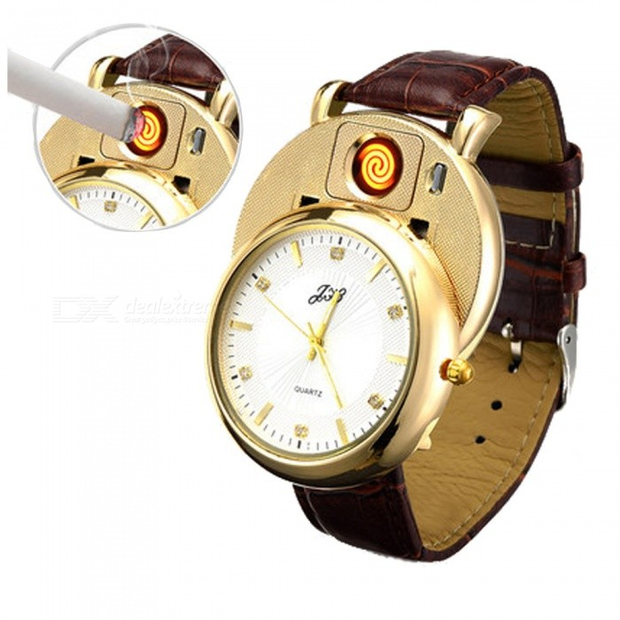 Mens Stylish Quartz Watch with USB Rechargeable Cigarette LigherOther Lighters<br>Form  ColorGolden + WhiteMaterialMetalQuantity1 setShade Of ColorGoldTypeUSBPower Supply350Charging Time2 hourPacking List1 x Watch<br>