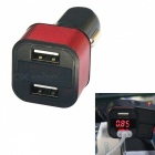 H-603 Car Charger Fast Charge 3.4A Dual USB w/ Digits Display - Red