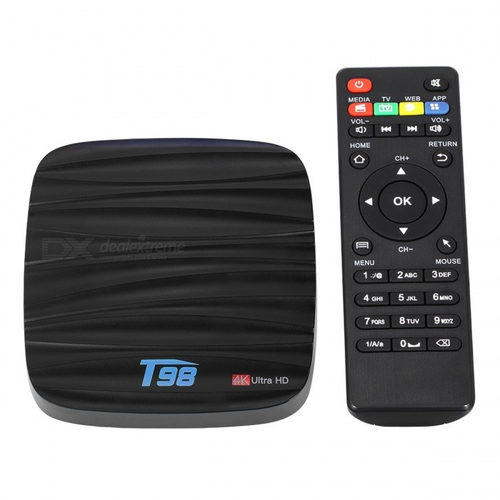 T98 TV Box Android 7.1 Quad-Core 2GB/16GB 4K Media Player - EU PlugSmart TV Players<br>Form  ColorBlackBuilt-in Memory / RAM2GBStorage16GBPower AdapterEU PlugQuantity1 setMaterialABSShade Of ColorBlackOperating SystemOthers,Android 7.1ChipsetCPU RK3328CPUOthers,Cortex-A53Processor Frequency1.5 GHzMenu LanguageEnglishMax Extended Capacity32GBSupports Card TypeMicroSD (TF)Wi-FiWi-Fi 802.11 b/g/nBluetooth VersionBluetooth V4.03G FunctionYesWireless Keyboard/Mouse2.4GAudio FormatsOthers,MP3 / WMA / AAC / WAV / OGG / DDP / HD / FLAC / APEVideo FormatsOthers,Avi / Ts / Vob / Mkv / Mov / ISO / wmv / asf / flv / dat / mpg / mpegAudio CodecsDTS,AC3,FLACVideo CodecsH.264,Others,H.265,VC-1MPEG-1/2/4VP6 / 8Picture FormatsOthers,HD JPEG / BMP / GIF / PNG / TIFFSubtitle FormatsOthers,SRT / SMI / SUB / SSA / IDX + USBOutput Resolution1080PHDMIHDMI 2.0 a(C Type Male) for 4k@60HzPower SupplyDC 5V/2.0APacking List1 x T98 Android 7.1 EXW Pro TV Box 1 x Power Adapter(5V 2A ) 1 x Remote Controller (Battery is not included) 1 x HDMI Cable  1x User Manual<br>