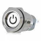 12V 16mm Metal Self-locking Button Switch with White Indicator Light