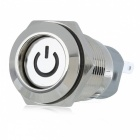 12V 16mm Metal Self-locking Button Switch with Green Indicator Light