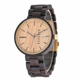 Redear Handmade Natural Sandal Wooden Quartz Watch for Men
