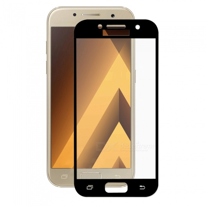 Hat-Prince Full Coverage Tempered Protector for Galaxy A3 2017 - BlackScreen Protectors<br>Form  ColorBlackScreen TypeGlossyModel-MaterialTempered GlassQuantity1 DX.PCM.Model.AttributeModel.UnitCompatible ModelsSamsung Galaxy A3 2017Features2.5D,HD,Scratch-proof,Tempered glassPacking List1 x Screen protector1 x Dust Sticker1 x Cleaning Cloth1 x Alcohol Prep Pad<br>