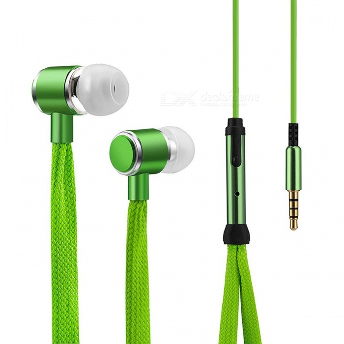 Cool Shoelaces Style Earphone with Micrphone - Green - Free Shipping -  DealExtreme 9fe525956d1d1