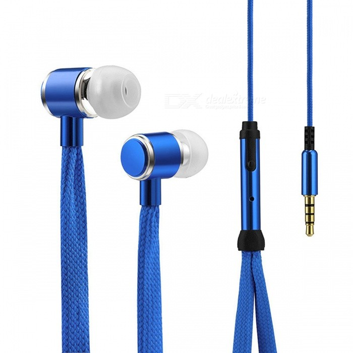 Cool Shoelaces Style Earphone with Micrphone - BlueHeadphones<br>Form  ColorBlueBrandOthers,N/AMaterialPlastic + alloyQuantity1 DX.PCM.Model.AttributeModel.UnitConnection3.5mm WiredBluetooth VersionNoConnects Two Phones SimultaneouslyNoCable Length108 DX.PCM.Model.AttributeModel.UnitLeft &amp; Right Cables TypeEqual LengthHeadphone StyleBilateralWaterproof LevelIPX2Applicable ProductsUniversalHeadphone FeaturesPhone ControlRadio TunerNoSupport Memory CardNoSupport Apt-XYesPacking List1 x High Quality Shoelace Style Earphone<br>
