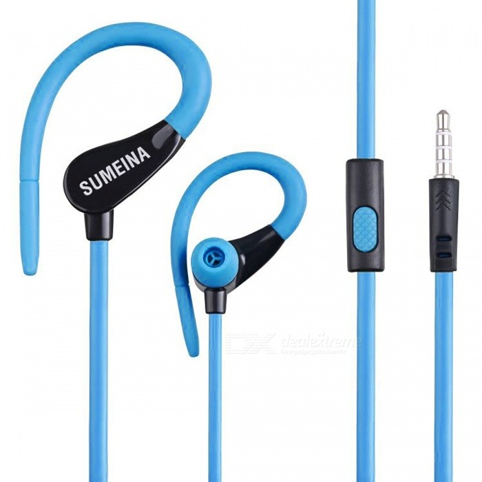 SMN-11 Sports Ear Hook In-Ear Earphones for Cell Phones - BlueHeadphones<br>Form  ColorBlueBrandOthers,N/AMaterialPlastic + alloyQuantity1 pieceConnection3.5mm WiredBluetooth VersionNoConnects Two Phones SimultaneouslyNoCable Length112 cmLeft &amp; Right Calbes TypeEqual LengthHeadphone StyleIn-Ear,Ear-hookWaterproof LevelIPX2Applicable ProductsUniversalHeadphone FeaturesHiFiRadio TunerNoSupport Memory CardNoSupport Apt-XNoChannels2.0Packing List1 x Earphone<br>
