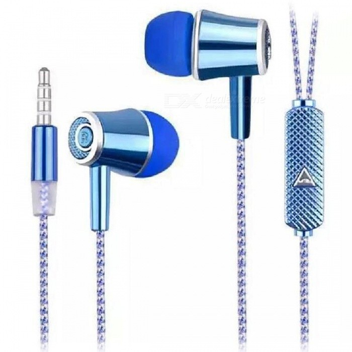 In-Ear Earphones w/ Microphone / Phone Call Button - BlueHeadphones<br>Form  ColorBlueBrandOthers,N/AMaterialPlastic + alloyQuantity1 pieceConnection3.5mm WiredBluetooth VersionNoConnects Two Phones SimultaneouslyNoCable Length110 cmLeft &amp; Right Calbes TypeEqual LengthHeadphone StyleUnilateral,In-EarWaterproof LevelIPX2Applicable ProductsUniversalHeadphone FeaturesHiFiRadio TunerNoSupport Memory CardNoSupport Apt-XNoChannels1.0Packing List1 x Earphones<br>