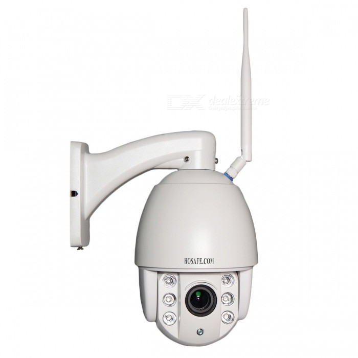 HOSAFE 960P 4X Zoom WIFI Speed Dome PTZ IP CameraIP Cameras<br>Form  ColorWhitePower AdapterEU PlugModelHX13MSD1-WMaterialAluminumQuantity1 DX.PCM.Model.AttributeModel.UnitImage SensorCMOSImage Sensor SizeOthers,1/3 InchPixels1.3MPLensOthers,4X Zoom 2.8~12mm Auto FocusViewing Angle90~120 DX.PCM.Model.AttributeModel.UnitVideo Compressed FormatH.264Picture Resolution1080*960PFrame Rate25fpsMinimum Illumination0 DX.PCM.Model.AttributeModel.UnitNight VisionYesIR-LED Quantity6Night Vision Distance60 DX.PCM.Model.AttributeModel.UnitWireless / WiFi802.11 b / g / nNetwork ProtocolTCP,IP,UDP,HTTP,SMTP,FTP,DHCP,NTP,DDNS,uPnPSupported SystemsXP,Vista,7Supported BrowserIE 6.0 and above,Google Chrome,Firefox,OperaSIM Card SlotNoOnline Visitor5IP ModeDynamic,StaticMobile Phone PlatformAndroid,iOSFree DDNSYesIR-CUTYesBuilt-in Memory / RAMNoLocal MemoryNoMotorYesRotation AnglePan: 355 degrees; Tilt: 90 degreesZoomDigital ZoomSupported LanguagesEnglish,Simplified ChineseWater-proofIP66Rate Voltage12Rated Current2 DX.PCM.Model.AttributeModel.UnitIntercom FunctionNoPacking List1 x IP camera1 x Power adapter (AC 110~240V / US plug / 150cm-cable)1 x Bracket1 x Antenna1 x Ethernet cable (100cm)1 x Screw kit1 x CD1 x HOSAFE Warning sticker<br>