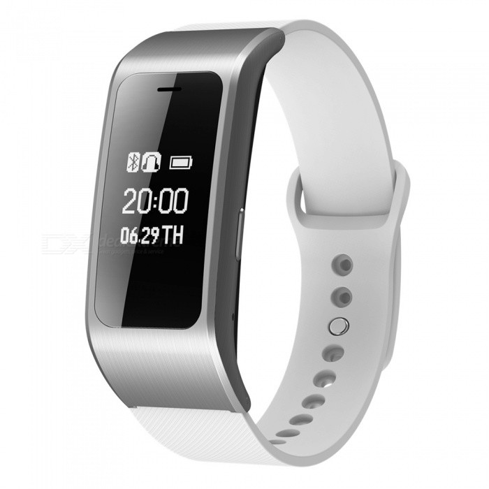 A96 Sports Smart Bracelet Wristband Bluetooth Handsfree Call - SilverSmart Bracelets<br>Form  ColorSilver Grey + WhiteQuantity1 setMaterialABSShade Of ColorSilverWater-proofNoBluetooth VersionBluetooth V4.0Touch Screen TypeYesCompatible OSAndroid 4.4 or above and Bluetooth must be 4.0 or above; IOS8.0 or aboveBattery Capacity120 mAhBattery TypeLi-polymer batteryStandby Time5-7 daysPacking List1 x Smart Bracelet1 x User Manual<br>