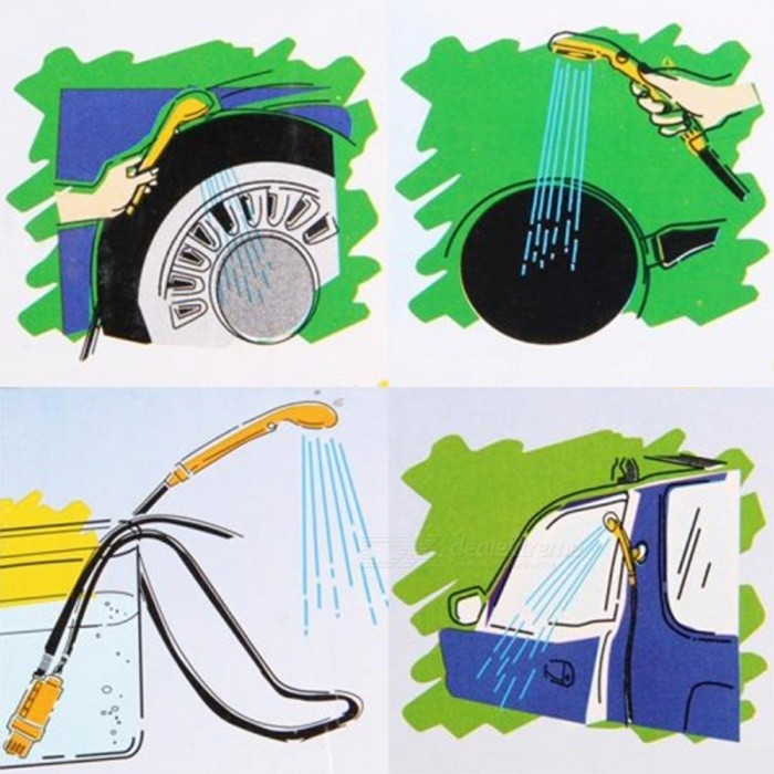 Ensemble de rondelle de douche de voiture portable dc 12v pour camping en plein air jaune for Douche plein air