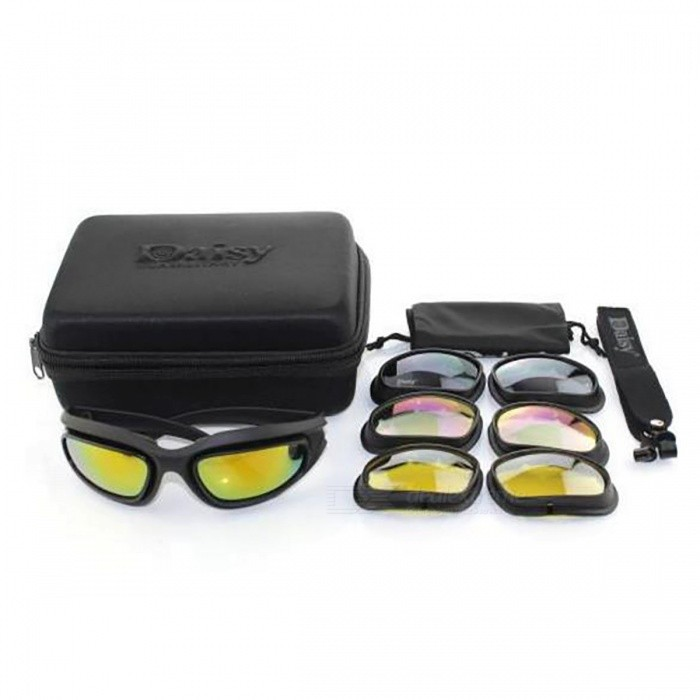 Tactical Military Army Polarized Goggles Sunglasses - BlackGoggles<br>Form  ColorBlack (Polarized)ModelN/AQuantity1 setMaterialPCGenderMenOverall Width of Frame18 cmFrame ColorBlack LeopardFrame Height5.5 cmLens MaterialResinLens ColorBlackLens Width5.5 cmHead Circumference54.5 cmBand Length20 cmSuitable forAdultsPacking List1 x Glasses set (4 Lenses, Black polarized)<br>
