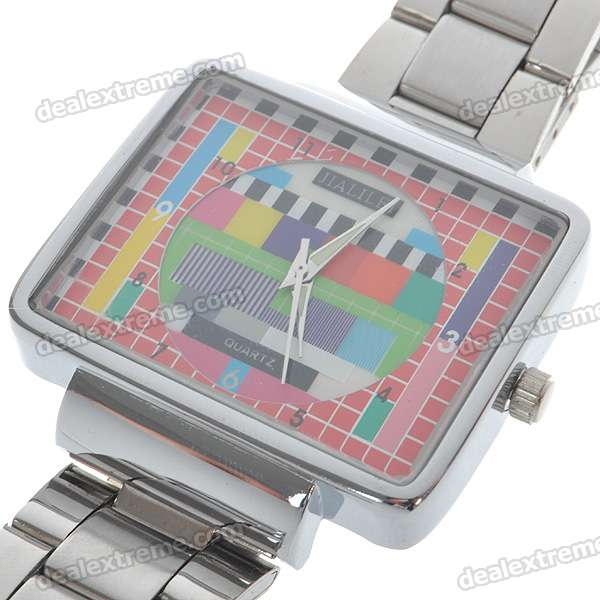 Unique TV Logo Quartz Wristwatch with Stainless Steel Band - Silver (1*SR626SW)