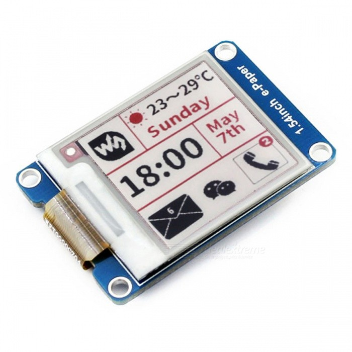 1.54inch Three-Color E-Ink Display Module for Raspberry Pi/NucleoRaspberry Pi<br>Form  Color1.54inch e-Paper Module (B)three-colorModel1.54inch e-Paper Module (B)Quantity1 DX.PCM.Model.AttributeModel.UnitMaterialRF4,PCB,LCDDownload Link   www.waveshare.com/wiki/1.54inch_e-Paper_Module_(B)Packing List1 x 1.54inch e-Paper Module (B)1 x XH2.54 20cm 8Pin<br>