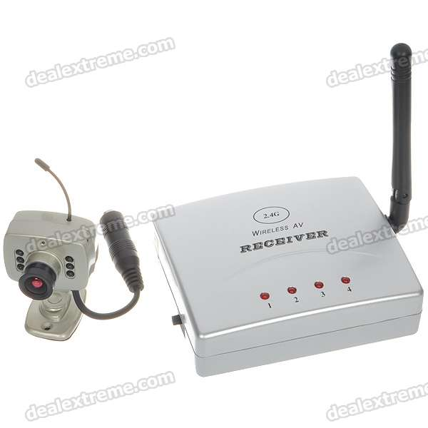 Ultra-Mini 2.4GHz Wireless Surveillance Audio/Video Camera w/ 4-CH Receiver - Golden (1-Camera Set)
