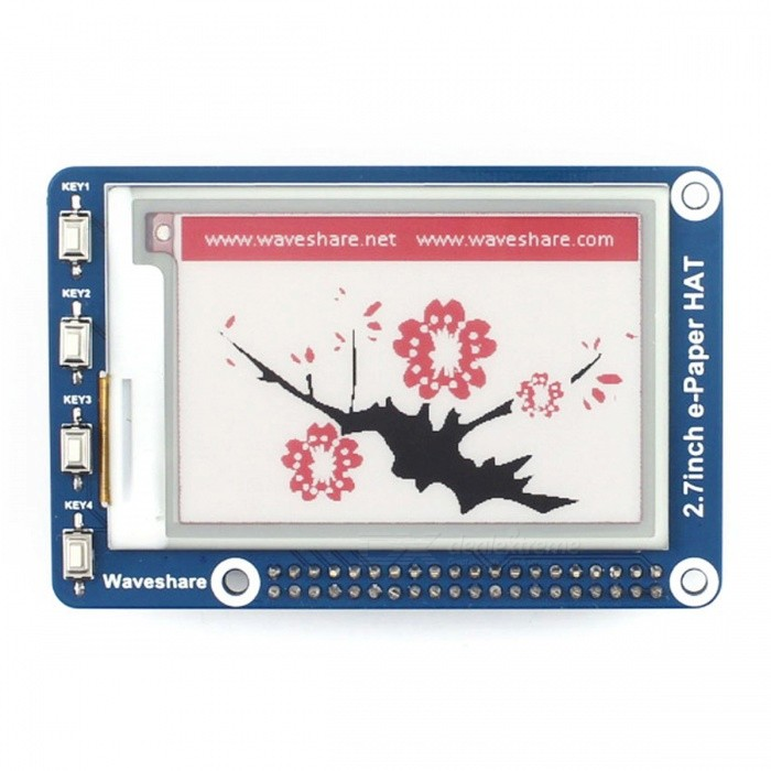 264x176, Three-color, 2.7inch E-Ink Display HAT For Raspberry/ArduinoRaspberry Pi<br>Form  Color2.7nch e-Paper Module (B)three-colorModel2.7inch e-Paper HAT (B)Quantity1 setMaterialRF4 PCB LCDDownload Link   www.waveshare.com/wiki/2.7inch_e-Paper_HAT_(B)Packing List1 x 2.7inch e-Paper HAT (B)1 x RPi screws pack (2pcs)<br>