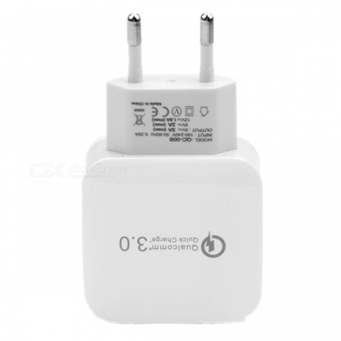KELIMA Universal USB QC3.0 Charger Power Adapter - White (EU Plug)Plugs &amp; Sockets<br>Form  ColorWhiteModelKELIMAQuantity1 DX.PCM.Model.AttributeModel.UnitMaterialABSFireproof MaterialYesRate Voltage100-240VRated Current3 DX.PCM.Model.AttributeModel.UnitRated Power15 DX.PCM.Model.AttributeModel.UnitCompatible PlugOthers,USBGroundingNoOutlet1 DX.PCM.Model.AttributeModel.UnitWith Switch ControlNoSurge Protection FunctionYesLightning Protection FunctionNoWith FuseNoPower AdapterEU PlugPacking List1 x USB Charger<br>