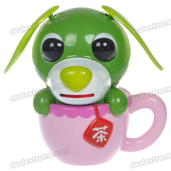 Cute Solar Powered Ears Shaking Cup Puppy Coin Bank (Color Assorted)
