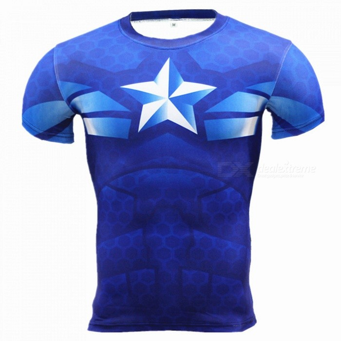 Outdoor Multi-functional US Captain Short-sleeved Mens T-shirt (XXXL)Form  ColorBlueSizeXXXLModelA-2493Quantity1 pieceMaterialPolyesterShade Of ColorBlueSeasonsSpring and SummerGenderMensShoulder Width47 cmChest Girth100-124 cmSleeve Length20 cmTotal Length68 cmBest UseCross-training,Yoga,Running,Climbing,Rock Climbing,Family &amp; car camping,Backpacking,Camping,Mountaineering,Travel,Cycling,Triathlon,Cross-trainingSuitable forAdultsPacking List1 x Mens T-shirt<br>