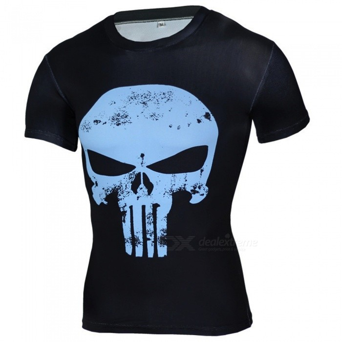 Outdoor Punisher Pattern Short Sleeve Mens T-Shirt (XXXL)Form  ColorBlue + BlackSizeXXXLModelA-2493Quantity1 DX.PCM.Model.AttributeModel.UnitMaterialPolyesterShade Of ColorBlueSeasonsSpring and SummerGenderMensShoulder Width47 DX.PCM.Model.AttributeModel.UnitChest Girth100-124 DX.PCM.Model.AttributeModel.UnitSleeve Length20 DX.PCM.Model.AttributeModel.UnitTotal Length68 DX.PCM.Model.AttributeModel.UnitBest UseCross-training,Yoga,Running,Climbing,Rock Climbing,Family &amp; car camping,Backpacking,Camping,Mountaineering,Travel,Cycling,Triathlon,Cross-trainingSuitable forAdultsPacking List1 x Mens T-shirt<br>