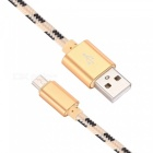 Nylon Woven USB 2.0 to Micro USB Data / Charging Cable - Golden (2M)