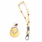 Lemon style finger ring holder phone lanyard mobile stand - orange