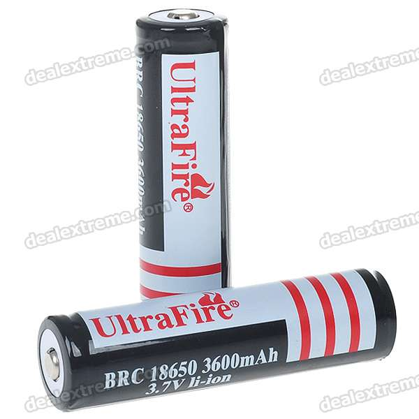 "UltraFire 18650 3.7V ""3600mAh"" Lithium Batteries - Black (2PCS)"