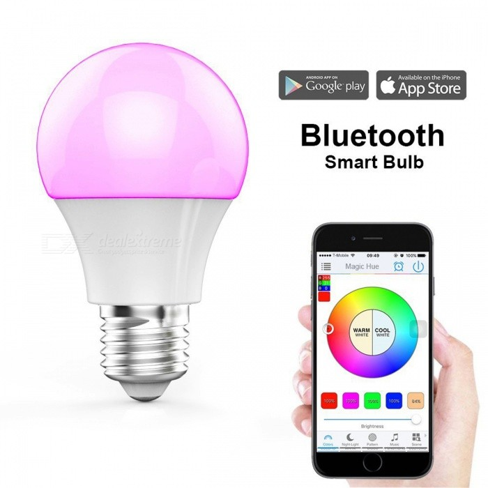 SZFC E27 Bluetooth Colorful LED Bulb Lamp - WhiteSmart Lighting<br>Color BINMulti-colorModelE27MaterialPlasticForm  ColorWhiteQuantity1 DX.PCM.Model.AttributeModel.UnitPowerOthers,4.5WRated VoltageAC 100-240 DX.PCM.Model.AttributeModel.UnitConnector TypeE27Chip TypeLEDEmitter TypeLEDTotal Emitters1Actual Lumens350 DX.PCM.Model.AttributeModel.UnitColor Temperature12000K,Others,N/ADimmableYesBeam Angle350 DX.PCM.Model.AttributeModel.UnitPacking List1 x E27 bluetooth bulb lamp<br>