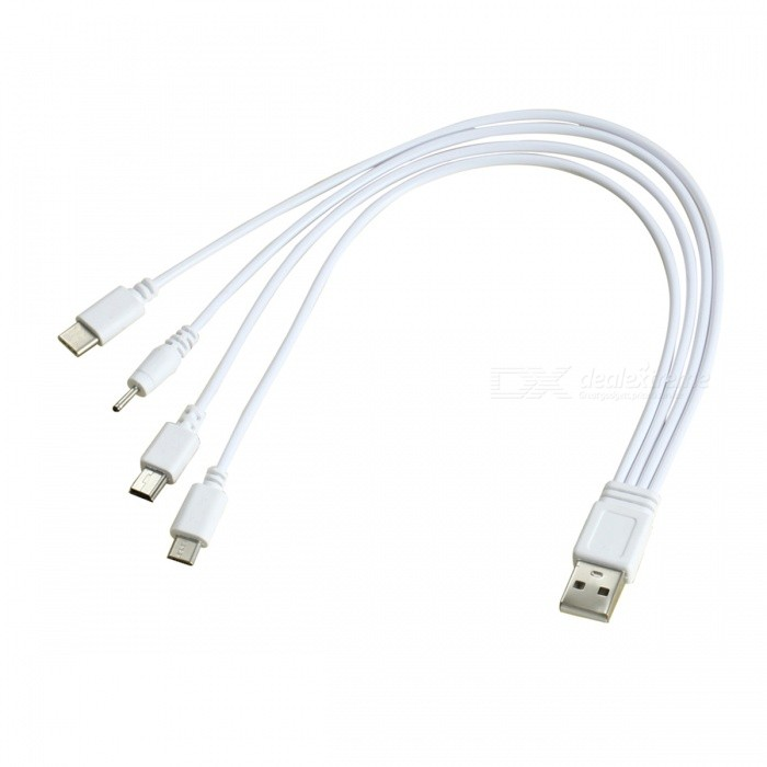 Cwxuan Type-C, Micro USB, Mini USB, DC 2.0mm to USB Charging CableLaptop/Tablet Cable&amp;Adapters<br>Form  ColorWhiteQuantity1 pieceShade Of ColorWhiteMaterialPVCInterfaceOthers,USB 3.1 Type C/Micro USB/Mini USB/DC 2.0mm to USBPacking List1 x 4-in-1 USB Charging Cable<br>