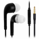3.5mm Wired HIFI In-Ear Earphone with Microphone - Black