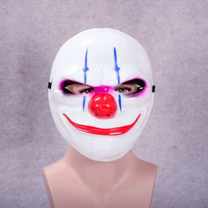 Halloween Clown Payday2 Theme MaskHalloween Gadgets<br>Form  ColorWhite + RedMaterialPlasticQuantity1 pieceSuitable holidaysHalloween,UniversalPacking List1 x Mask<br>