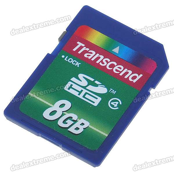 Genuine Transcend SDHC SD Memory Card - 8GB (Class 4)