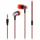 Bullet Head 3.5mm Wired In-Ear Earphone for Cell Phones - Red