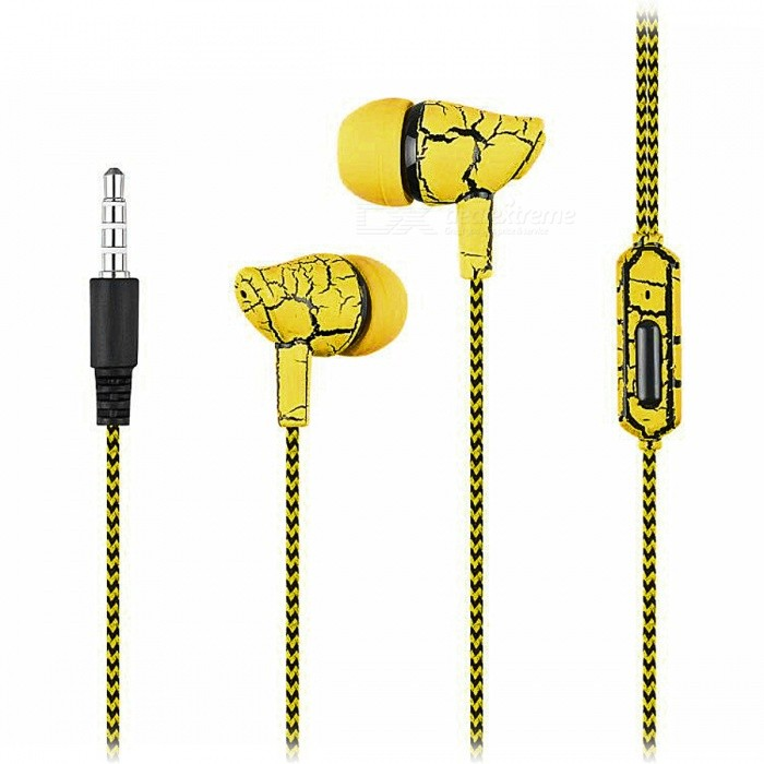 Crack Pattern 3.5mm Wired In-Ear Earphone with Microphone - YellowHeadphones<br>Form  ColorYellowBrandOthers,N/AModelA9100MaterialPlastic + alloyQuantity1 DX.PCM.Model.AttributeModel.UnitConnection3.5mm WiredBluetooth VersionNoConnects Two Phones SimultaneouslyNoCable Length1 DX.PCM.Model.AttributeModel.UnitLeft &amp; Right Cables TypeEqual LengthHeadphone StyleBilateral,In-EarWaterproof LevelIPX2Applicable ProductsUniversalHeadphone FeaturesVolume Control,With Microphone,Lightweight,PortableRadio TunerNoSupport Memory CardNoSupport Apt-XNoChannels2.0Packing List1 x Wired Earphone<br>