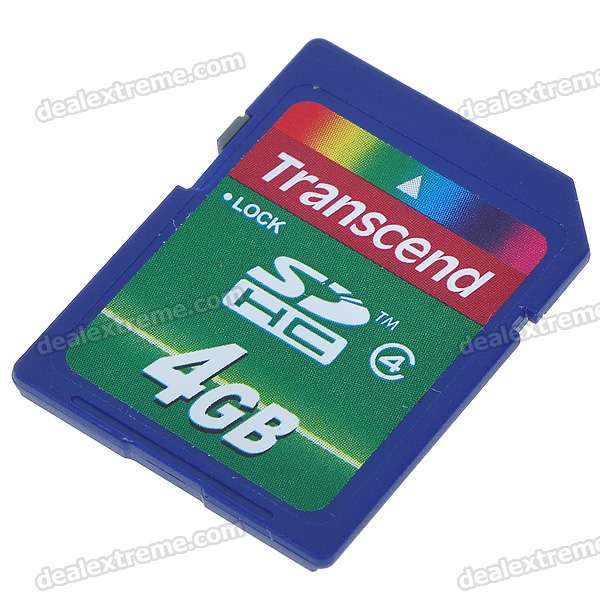 Genuine Transcend SDHC SD Memory Card - 4GB (Class 4)