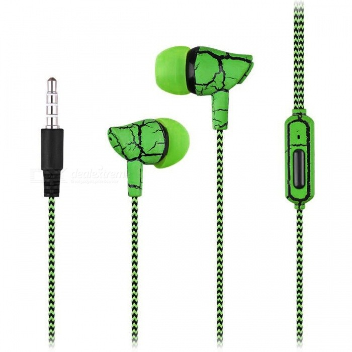 Crack Pattern 3.5mm Wired In-Ear Earphone with Microphone - GreenHeadphones<br>Form  ColorGreenBrandOthers,N/AModelA9100MaterialPlastic + alloyQuantity1 DX.PCM.Model.AttributeModel.UnitConnection3.5mm WiredBluetooth VersionNoConnects Two Phones SimultaneouslyNoCable Length1 DX.PCM.Model.AttributeModel.UnitLeft &amp; Right Cables TypeEqual LengthHeadphone StyleBilateral,In-EarWaterproof LevelIPX2Applicable ProductsUniversalHeadphone FeaturesVolume Control,With Microphone,Lightweight,PortableRadio TunerNoSupport Memory CardNoSupport Apt-XNoChannels2.0Packing List1 x Wired Earphone<br>