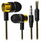 Stylish Woven Cable In-Ear Earphone for Cell Phone/Tablet PC - Golden