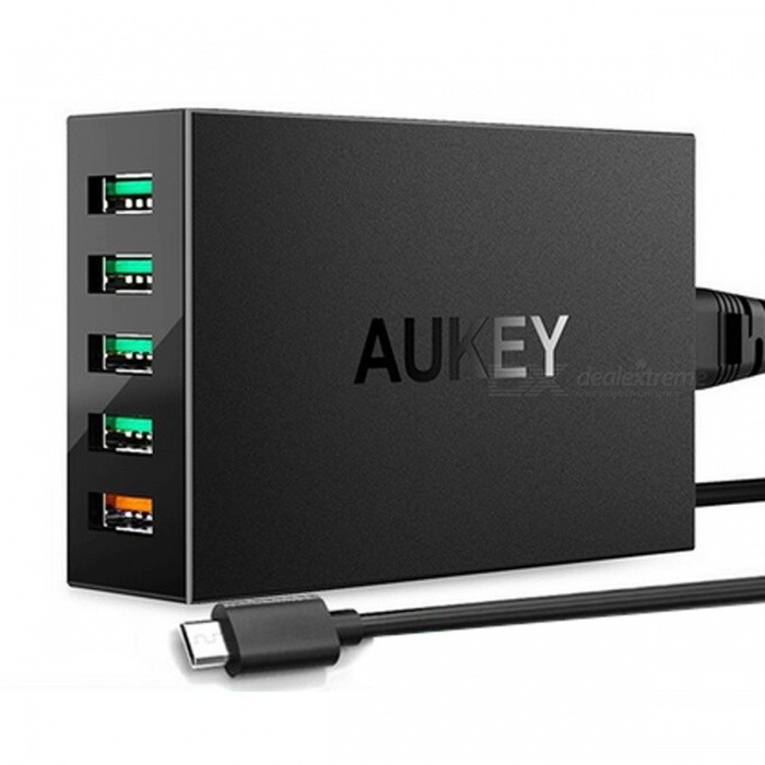 AUKEY PA-T15 Quick Charge 3.0 5-Port Desktop Charging Station - BlackAC Chargers<br>Form  ColorEU PlugModelPA-T15MaterialABSQuantity1 DX.PCM.Model.AttributeModel.UnitCompatible ModelsUniversalInput Voltage100-240 DX.PCM.Model.AttributeModel.UnitOutput CurrentDC 3.6V - 6.5V / 3A ,6.5V-9V/2A and 9V-12V / 1.5A DX.PCM.Model.AttributeModel.UnitOutput Power55.5 DX.PCM.Model.AttributeModel.UnitOutput Voltage5 DX.PCM.Model.AttributeModel.UnitSplit adapter number5Power AdapterUS PlugQuick ChargeQuick Charge 3.0LED IndicatorNoCable Length100 DX.PCM.Model.AttributeModel.UnitCertificationCE,RoHSPacking List1 * Charger1 * Cable<br>