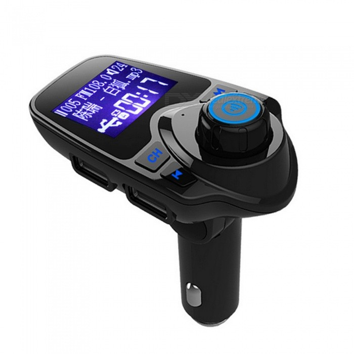 T11 Bluetooth Hands-free Car Kit with MP3 Music Player, FM TransmitterFM Transmitters and Players<br>Form  ColorBlackModelT11Quantity1 DX.PCM.Model.AttributeModel.UnitMaterialABSShade Of ColorBlackScreen Size1.3 DX.PCM.Model.AttributeModel.UnitScreen DisplayTransmitting Frequency,Song NameScreen ResolutionNOFunction1) dual USB port charge, to meet the car more electronic equipment at the same time charging.<br>2) use tf card / U disk storage to play songs, power can be played directly; (which only USB2 USB disk to support the U disk play / charge port, USB1 only as a charging port)<br>3) support MP3, WMA music file format<br>4) support audio input function, the phone through the AUX line into the car MP3 audio hole for FM transmitter to obtain high-definition sound quality;<br>5) The player has the track automatic memory function, which allows you to remove the device after the power off, re-play from the beginning to hear the distress, the player will remember to the power is playing the track, the next play will automatically From this start.<br>Precautions: <br>1) This product is slightly hot at work or when the car starts to pause / restart, is a normal phenomenon, please rest assured that use.<br>2) If you do not use this product for a long time, please pull out from the cigarette lighter.<br><br>Simple troubleshooting:<br>A, when using the frequency indicator light does not shine, please check the fuse is damaged, the power supply voltage is within the rated operating voltage range, the cigarette butts are linked with the mother seat is good;<br>B, if there is a light display, do not play, please check whether the player does not support the sound source;<br>C, if the display frequency is normal, but no sound, please check the players volume button is transferred to the minimum<br>D, if there is a song in the playback noise, or sound quality is not good, please try to reduce the player volume, increase the car audio volume, or download a higher quality sound s