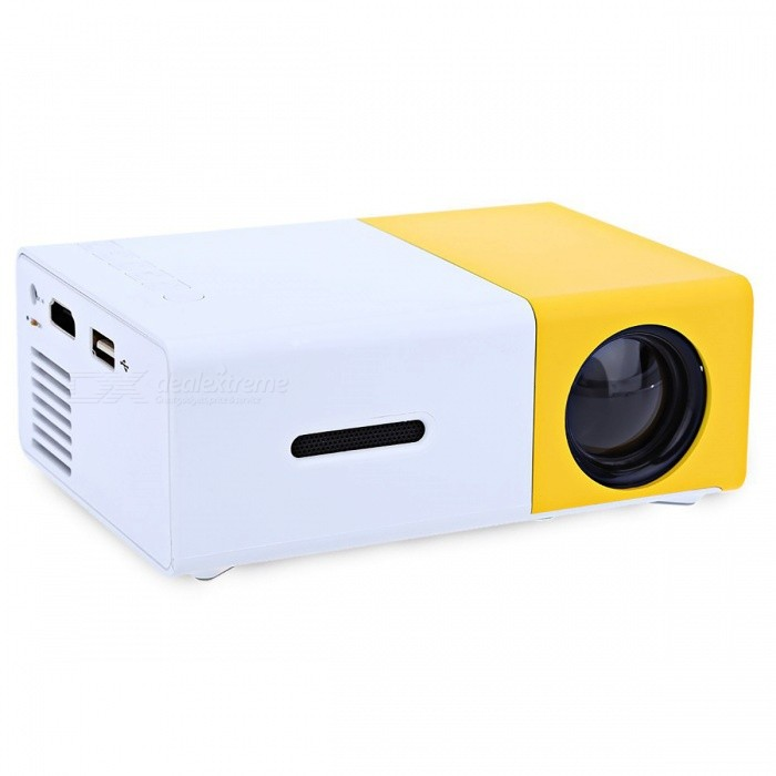 YG-300 LCD Projector 600LM 1080P Portable Media Player - Yellow (EU)Projectors<br>Form  ColorEU PlugBrandOthers,N/AModelYG-300Quantity1 DX.PCM.Model.AttributeModel.UnitMaterialPlasticShade Of ColorYellowOperating SystemNoTypeLCDBrightnessUnder 1000 lumensBrightness400 - 600 DX.PCM.Model.AttributeModel.UnitMenu LanguageEnglish,Others,Multi-languageMaximum Resolution1080PInput ConnectorsUSB,HDMIPower ConsumptionUnder 20WPower AdapterEU PlugForm  ColorYellow (EU Plug)Packing List1 x YG-300 LCD Projector1 x Remote Controller1 x AV Cable1 x English Instruction Manual<br>
