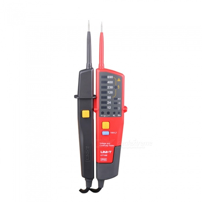 UNI-T UT18B Voltage and Continuity Tester - Red, BlackOther Measuring &amp; Analysing Instruments<br>Form  ColorRed + BlackModelUT18BQuantity1 DX.PCM.Model.AttributeModel.UnitMaterialABSPowered ByAAA BatteryBattery Number2Battery included or notYesCertificationCEPacking List1 x Tester2 x Batteries1 x Plastic box1 x Manual<br>
