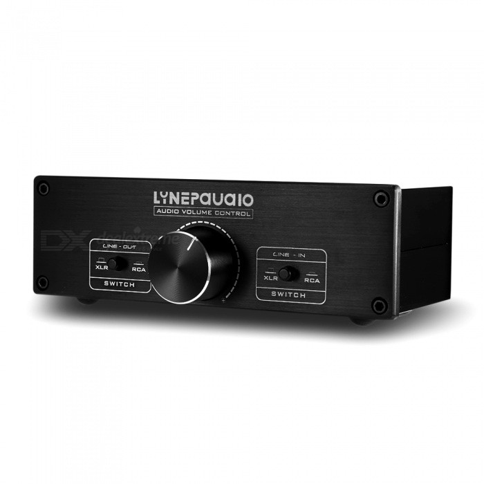 LINEPAUDIO A967 Fully Balances Dual Channel Volume ControllerAV Adapters And Converters<br>Form  ColorBlackModelA967MaterialAluminumQuantity1 setShade Of ColorBlackConnectorRCAPacking List1 x Volume Controller<br>
