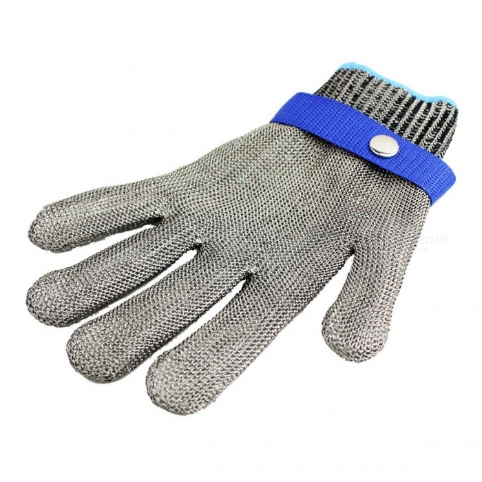 Steel Wire Prevent Cutting Knife Metal GloveSafety Gloves<br>Form  ColorWhite + Light Blue + Multi-ColoredSizeOthersShade Of ColorWhiteMaterialStainless steel + cottonQuantity1 piecePalm Girth23 cmMidfinger Length8.5 cmGlove Length23 cmOther FeaturesN/APacking List1 x Steel wire glove1 x Cloth glove<br>